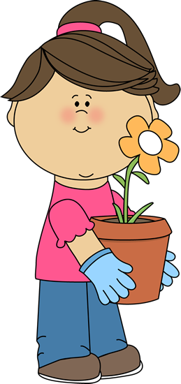 Girl Holding a Flower Pot