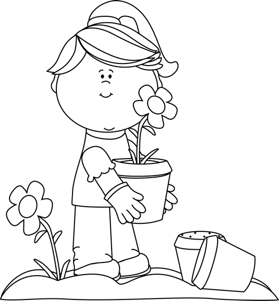 Black and White Girl Planting Flowers