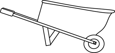 Black and White Wheelbarrow Clip Art Image - black and white outline ...