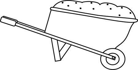 Black and White Wheelbarrow Filled with Dirt