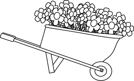Black and White Wheelbarrow Filled with Flowers
