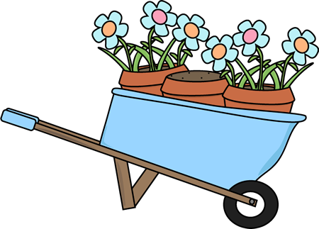 Wheelbarrow And Flower Pots
