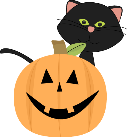 Black Cat Behind Jack-O-Lantern