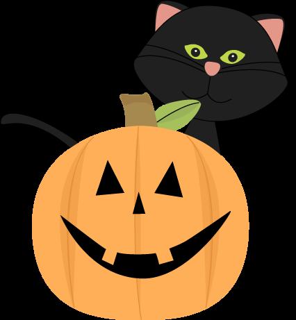 Black Cat Behind Jack-O-Lantern