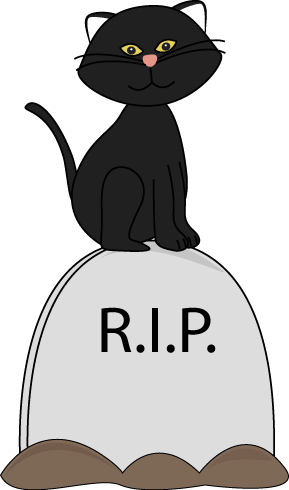 Black Cat Sitting on Tombstone