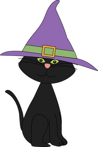 Black Cat Wearing Witches Hat