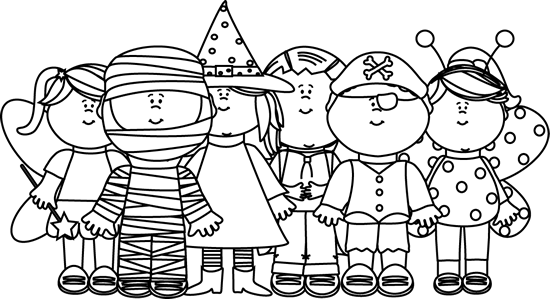 Black and White Halloween Kids Clip Art - Black and White ...