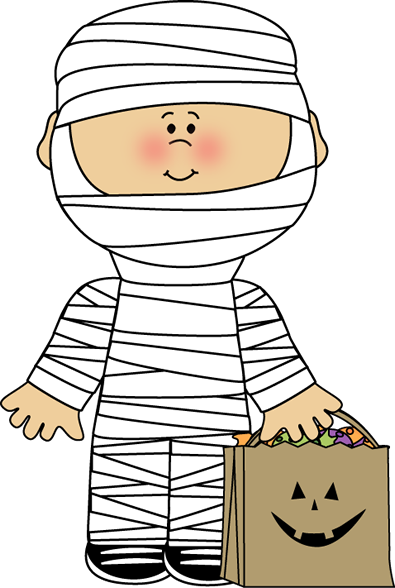 ... Art Image - boy dressed as a mummy for Halloween with a bag of candy