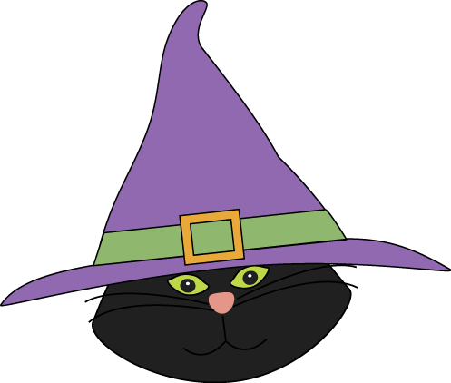 Cat Head with Witch Hat
