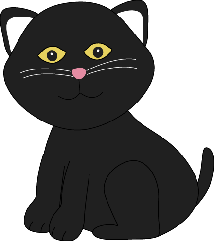 Cute Halloween Black Cat Clip Art - Cute Halloween Black Cat Image