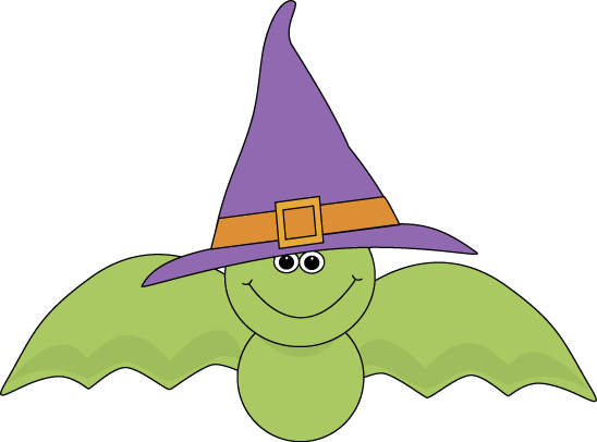 Green Bat Wearing Witch Hat