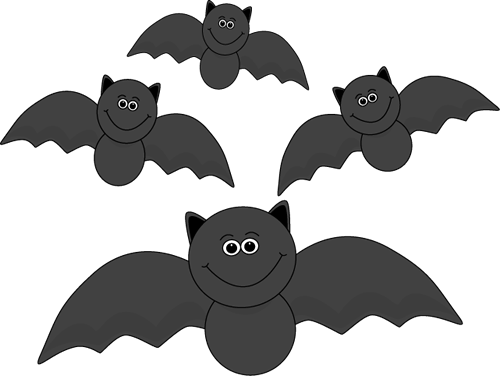 Group of Flying Bats Clip Art Image - group of cute black bats with ...