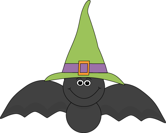 Halloween Bat Wearing Witches Hat