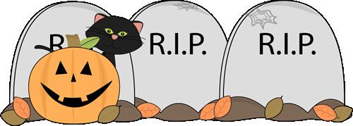 Halloween Cat in Graveyard