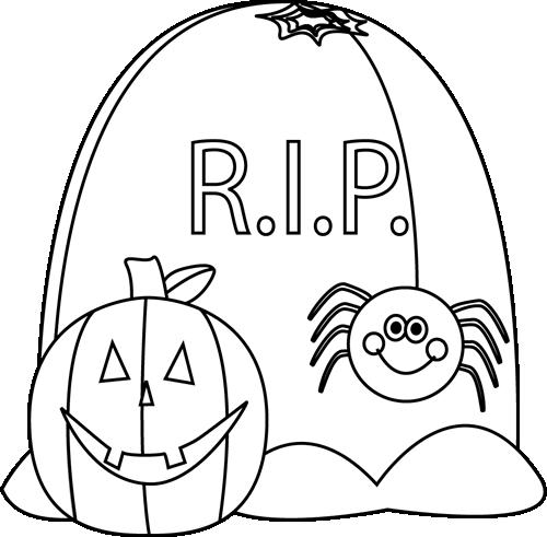 Black and White Halloween Scene