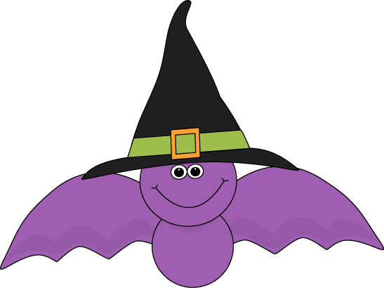 Purple Bat Wearing Witches Hat