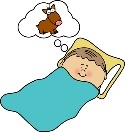 Boy Dreaming Clip Art Image - boy sleeping and dreaming of a dog