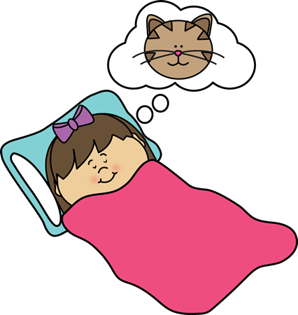 Girl Dreaming Clip Art Image - girl sleeping and dreaming of a cat