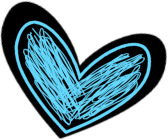 Black and Blue Scribbled Heart Clip Art