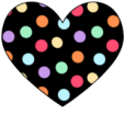 Black Polka Dot Heart