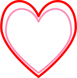 Pink and Red Heart Outline