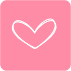 Pink White Heart Square