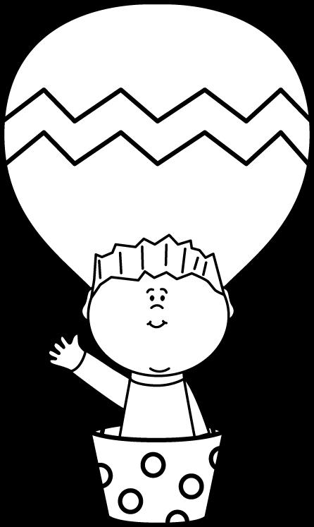 Black and White Boy in a Hot Air Balloon