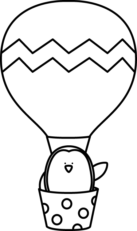 Black and White Penguin in a Hot Air Balloon