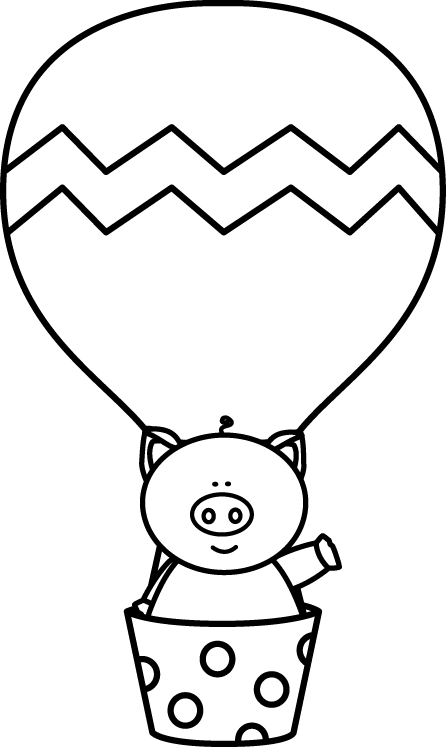 Black and White Pig in a Hot Air Balloon