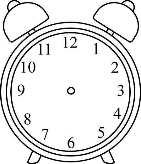 Black and White Alarm Clock without Hands Clip Art - Black ...