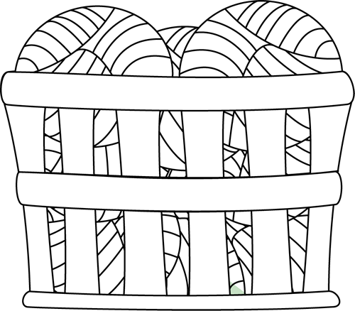 Basket Clip Art Black And White : Black and white basket of yarn clip art