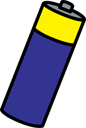 Battery Clip Art Image - blue and yellow AA battery clip art image