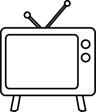 tv clipart black and white. black and white television tv clipart