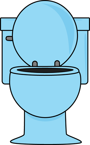 Blue Toilet with the Lid Up