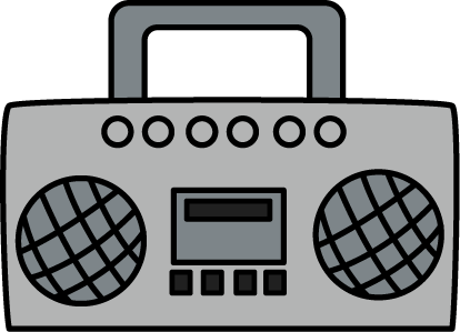 Boombox Clip Art Image - gray boombox with speakers, antenna, and ...