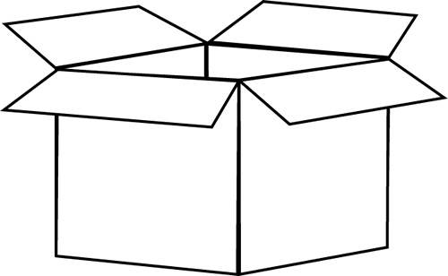 ... White Box Clip Art Image - black and white outline of a cardboard box