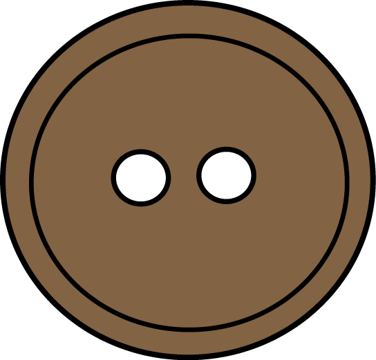 Brown Button Clip Art Image - large brown sewing button.