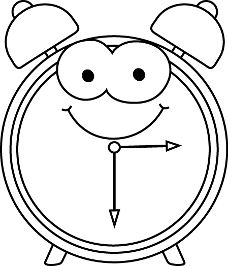 Black and White Cartoon Alarm Clock