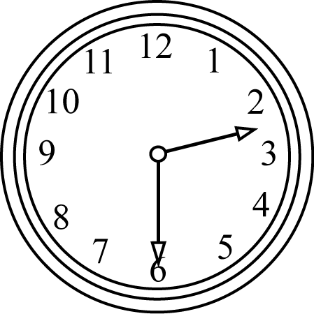 Black and White Half Past the Hour Clock
