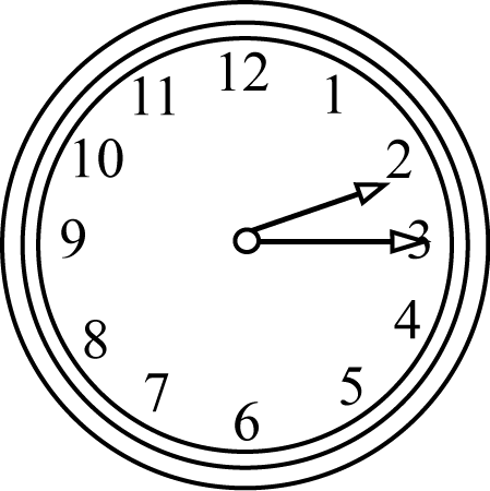Black and White Quarter Past the Hour Clock
