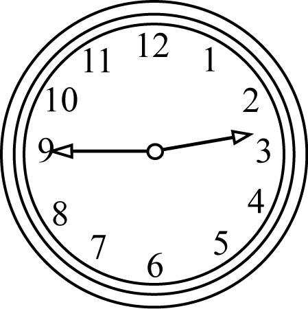 Black and White Clock Quarter to the Hour