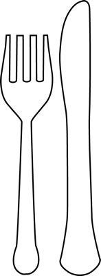 Black and White Fork and Knife