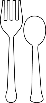 Black and White Fork and Spoon