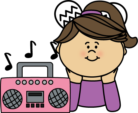 Girl Listening to Music Clip Art - Girl Listening to Music ...