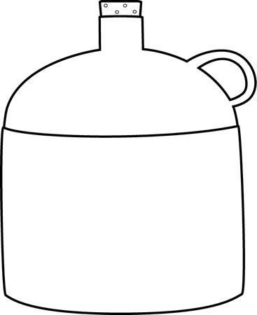 Black and White Jug Clip Art Image - black and white outline of a jug ...