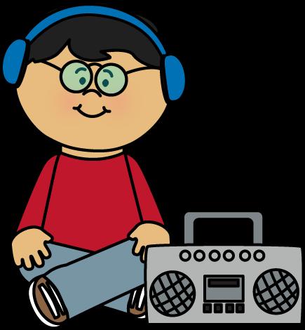 Kid Listening to Boombox