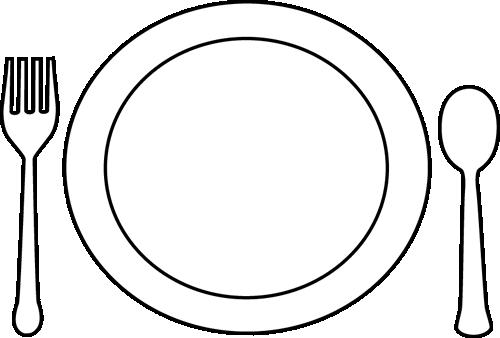 Black And White Dinner Plate And Utensils Clip Art Black