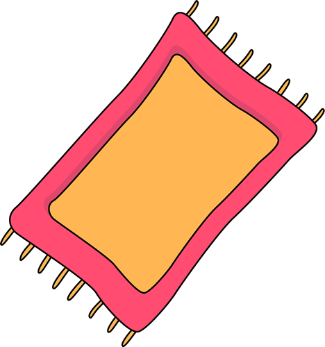 Pink Rug Clip Art Image - pink and yellow rug with yellow fringe on ...
