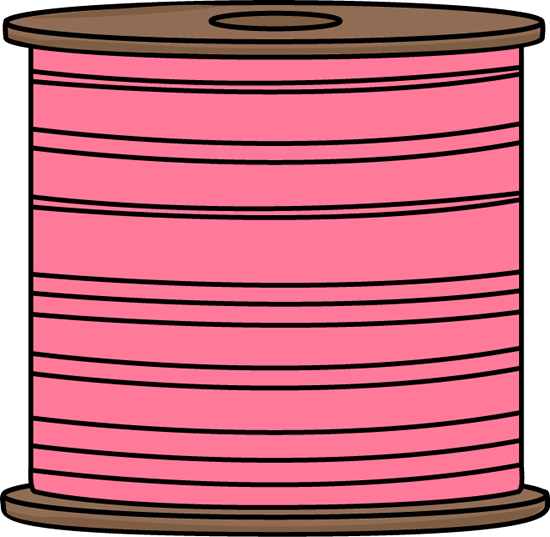 Spool of Pink Thread Clip Art Image - large spool of pink thread.