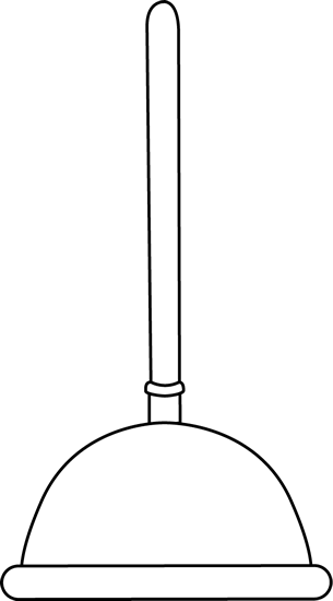 Black and White Toilet Plunger